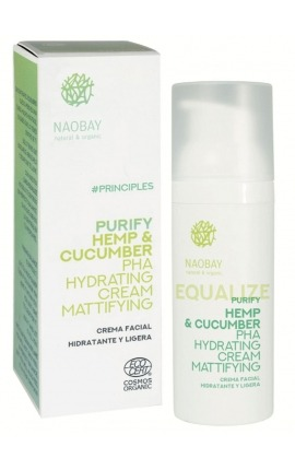 Crema matificante hidratante Equalize Purify Hemp & Cucumber PHA Hydrating Cream Mattifying Naobay